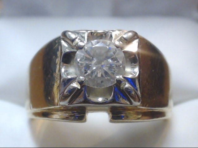 Gent's Diamond Solitaire Ring .70 CT. 14K Yellow Gold 14.4g Size:10