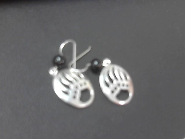 Black Stone Silver-Stone Earrings 925 Silver 4.5g