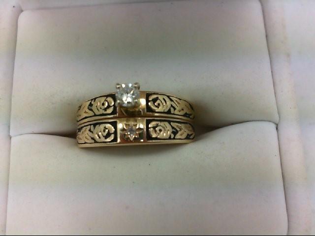Lady's Diamond Wedding Set 2 Diamonds 0.13 Carat T.W. 14K Yellow Gold 5.1g Size: