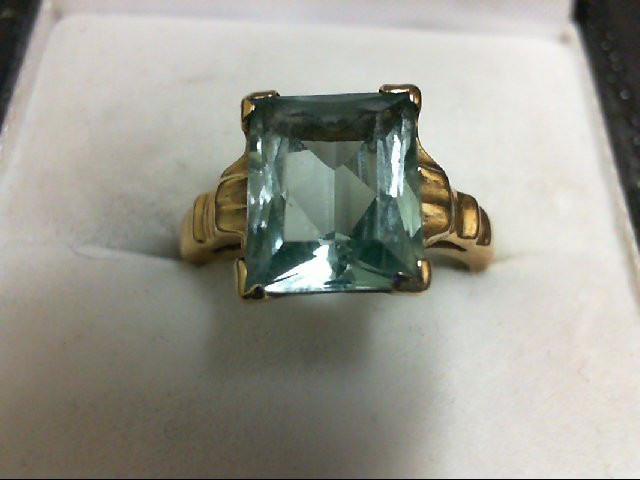 Synthetic Green Stone Lady's Stone Ring 10K Yellow Gold 2.8g