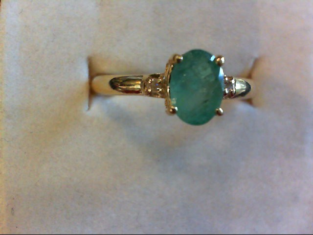 Emerald Lady's Stone Ring 14K Yellow Gold 2.2g