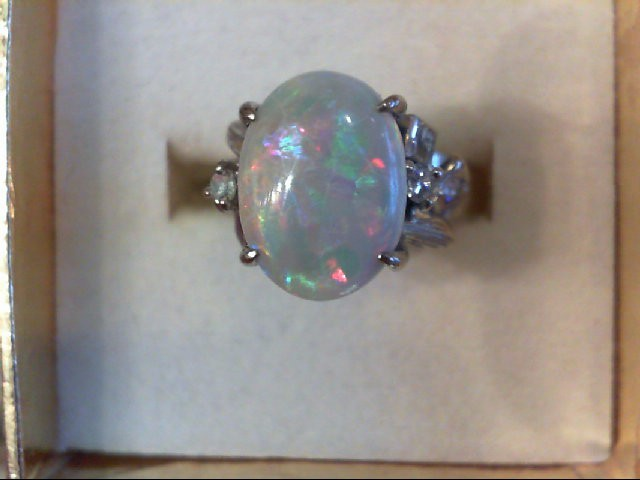 Opal Lady's Stone & Diamond Ring 4 Diamonds .08 Carat T.W. 14K White Gold 5.4g