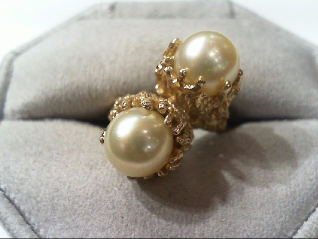 Pearl Lady's Stone Ring 14K Yellow Gold 7.8g