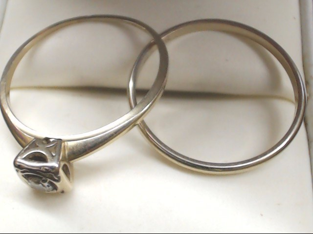 Lady's Diamond Wedding Set .17 CT. 14K White Gold 3.2g Size:10