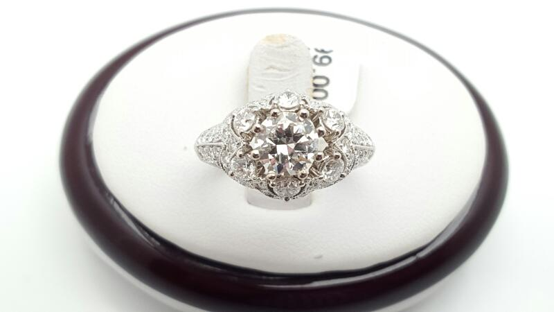 Lady's Diamond Engagement Ring 55 Diamonds 2.00 Carat T.W. 18K White Gold 6.2g
