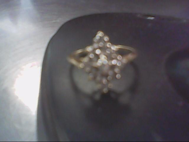 Lady's Diamond Cluster Ring 9 Diamonds .45 Carat T.W. 10K Yellow Gold 1.8g