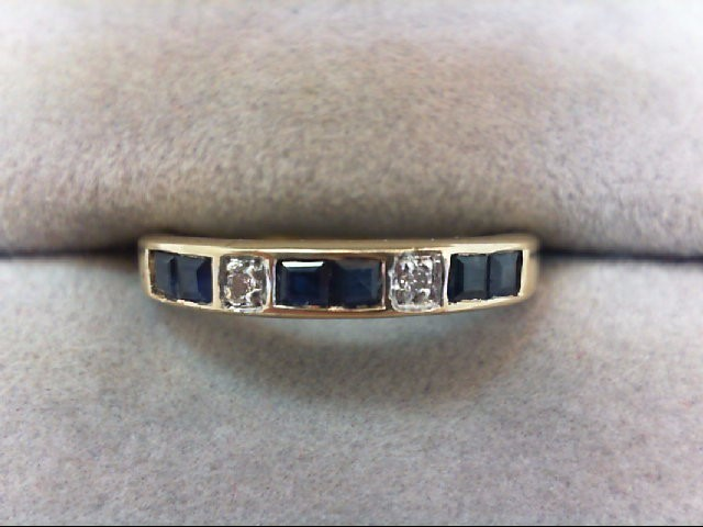 Sapphire Lady's Stone & Diamond Ring 2 Diamonds .02 Carat T.W. 10K Yellow Gold
