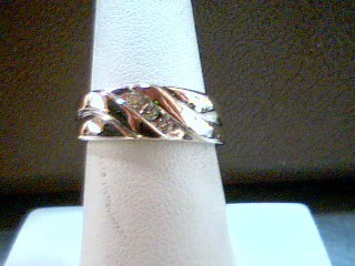 Gent's Gold-Diamond Wedding Band 3 Diamonds .09 Carat T.W. 10K White Gold 6.5g