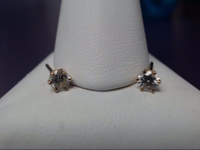 Gold Diamond Earrings 2 Diamonds .30 Carat T.W. 10K Yellow Gold 0.39g