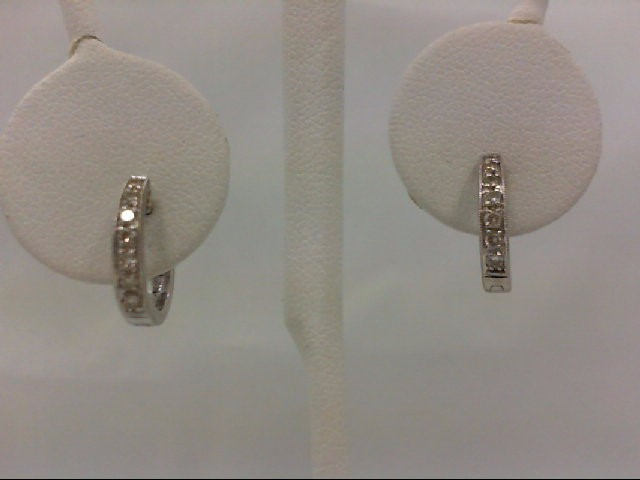 Gold-Diamond Earrings 14 Diamonds 0.14 Carat T.W. 14K White Gold 2.9g
