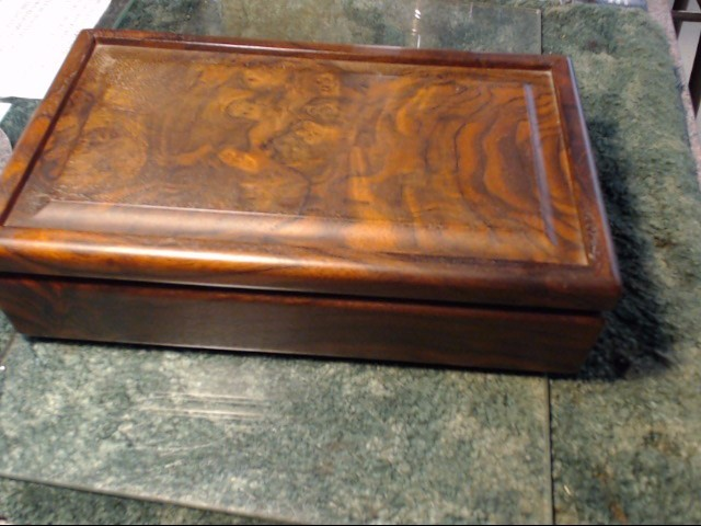 FOREST GEMS BURNT BLACK WALNUT STORAGE BOX WITH PAPER WORK IN NEW CONDITION