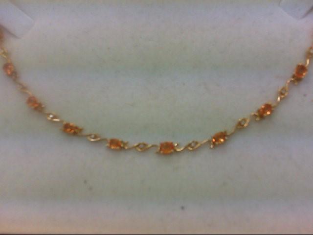Citrine Gold-Diamond & Stone Bracelet 11 Diamonds .055 Carat T.W.