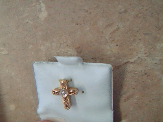 ESTATE DIAMOND CROSS PENDANT CHARM SOLID 14K GOLD CHRISTIAN SMALL