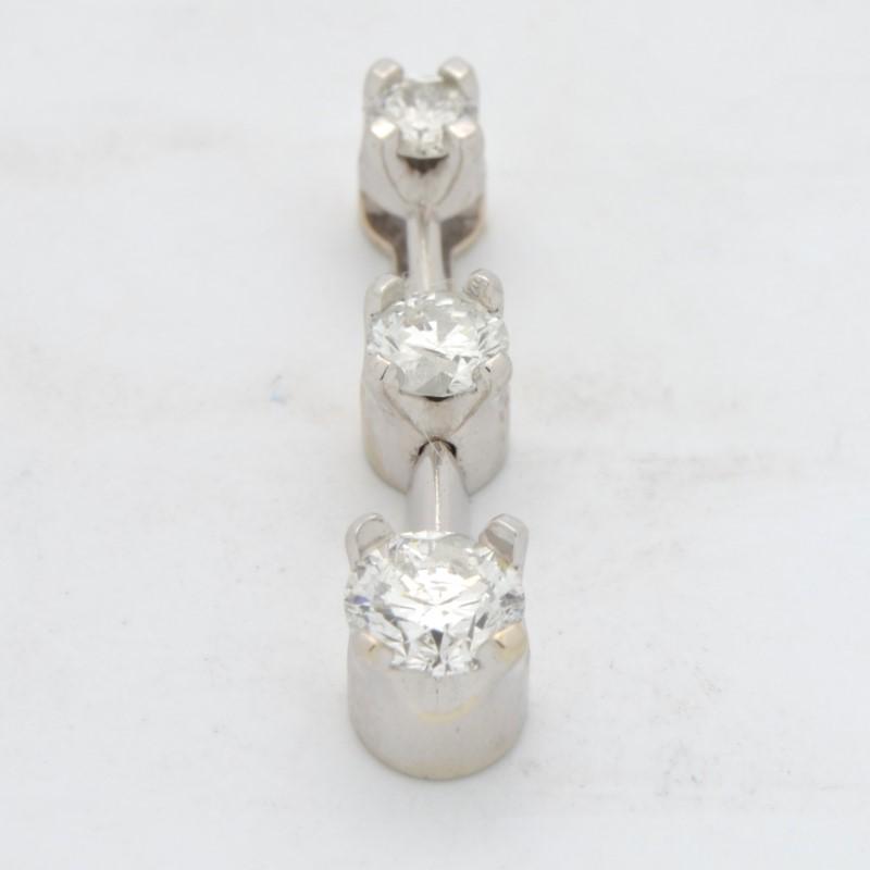 ESTATE 3 DIAMOND PENDANT CHARM 14K WHITE GOLD PAST PRESENT FUTURE