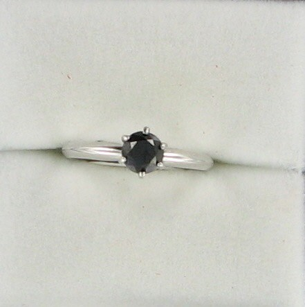 Lady's Diamond Solitaire Ring .50 CT. 14K White Gold 1.4dwt