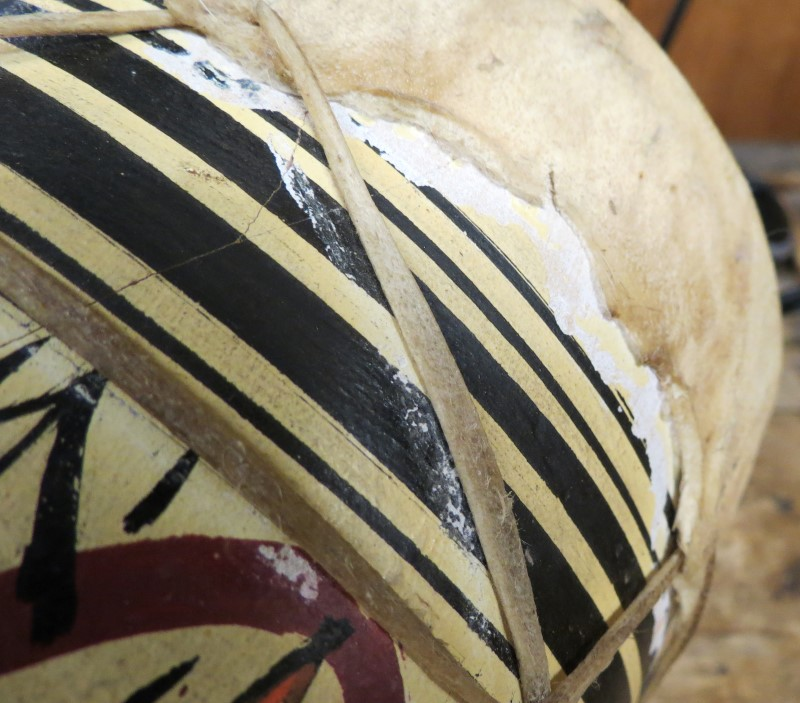 Hand painted Ceramic-Terracotta Drum with Rawhide Head and Straps-Vintage