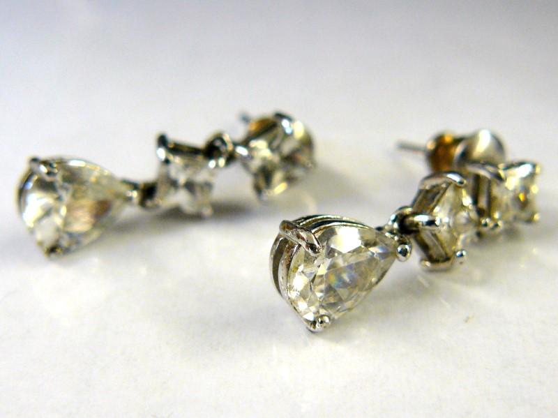 Cubic Zirconia Silver-Stone Earrings 925 Silver 2.3dwt