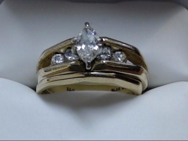 Lady's Diamond Wedding Set 5 Diamonds 0.78 Carat T.W. 14K Yellow Gold 7.4g Size: