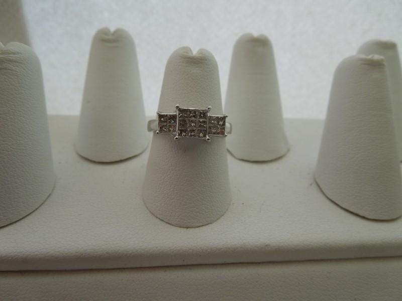 Lady's Diamond Engagement Ring 17 Diamonds .68 Carat T.W. 10K White Gold 3g