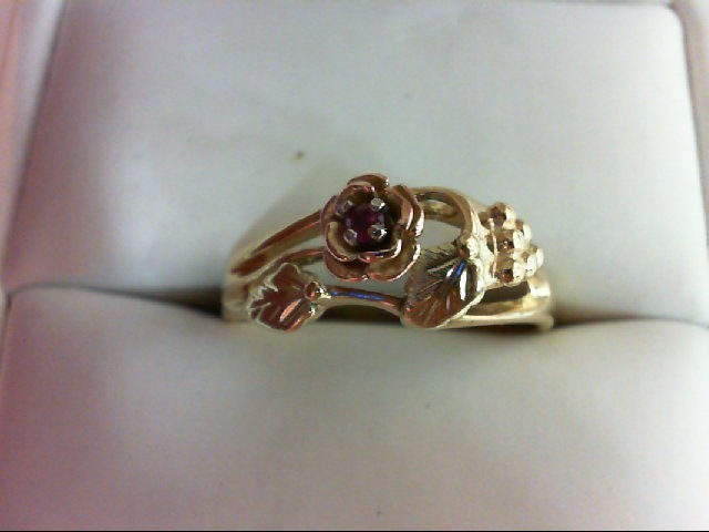 Ruby Lady's Stone Ring 10K Tri-color Gold 2.6g