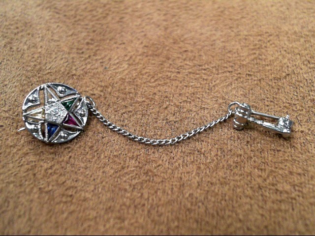 Vintage Order of the Eastern Star Pin with Gavel 14KT White Gold 1.3dwt