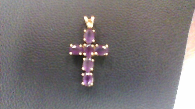 Synthetic Amethyst Gold-Stone Pendant 10K Yellow Gold 2.2g