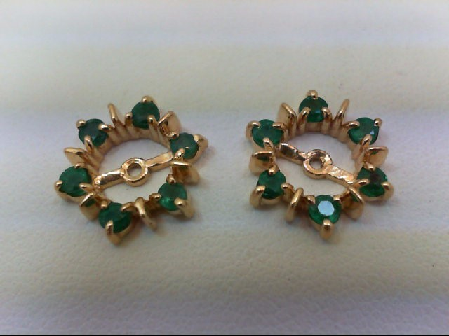 Emerald Gold-Stone Earrings 14K Yellow Gold 1.6g