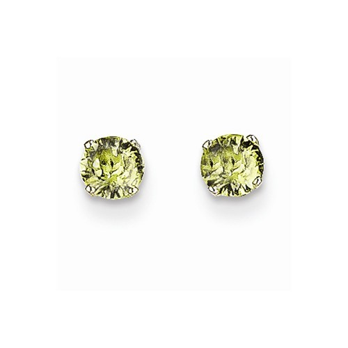 Synthetic Peridot Gold-Stone Earrings 14K White Gold 0.32g