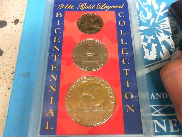 BICENTENNIAL Coin 24KT GOLD LAYERED COIN SET 3