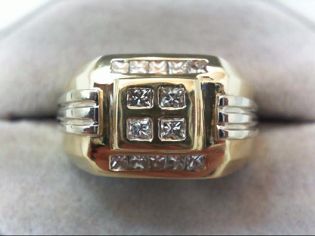 Gent's Gold-Diamond Wedding Band 16 Diamonds .82 Carat T.W. 14K 2 Tone Gold