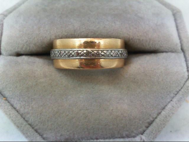 Lady's Diamond Wedding Band 26 Diamonds 0.26 Carat T.W. 14K 2 Tone Gold 6.7g