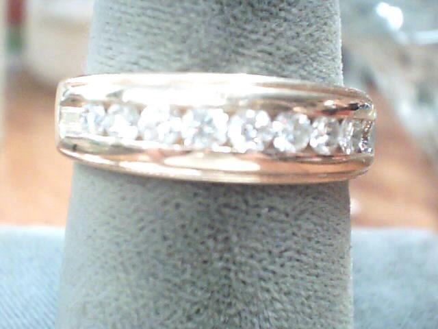 Gent's Gold-Diamond Wedding Band 9 Diamonds .45 Carat T.W. 14K Yellow Gold