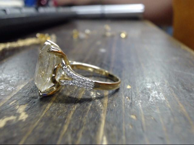 Yellow Stone Lady's Stone & Diamond Ring 24 Diamonds .24 Carat T.W.