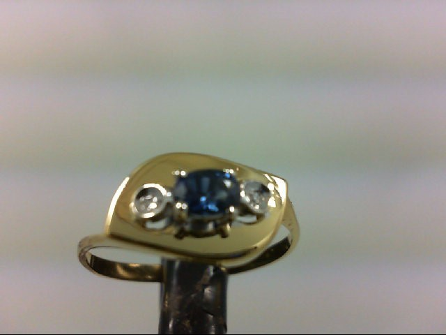 Sapphire Lady's Stone & Diamond Ring 2 Diamonds .02 Carat T.W. 18K Yellow Gold