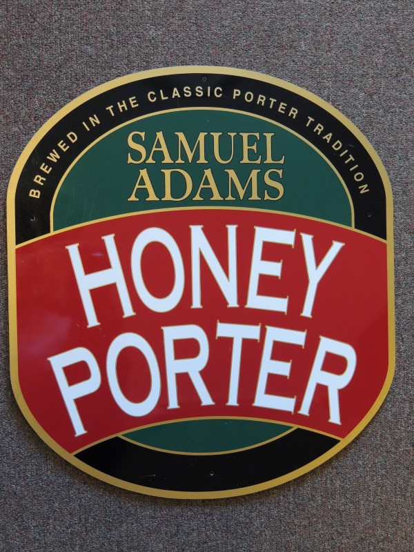SAM ADAMS HONEY PORTER BEER SIGN METAL