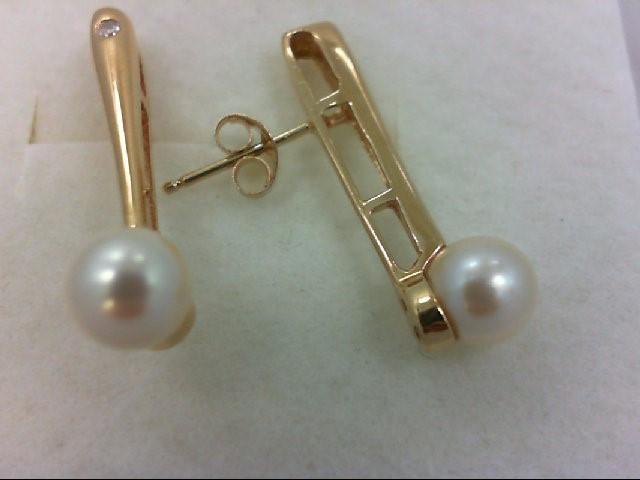 Pearl Gold-Diamond & Stone Earrings 2 Diamonds .02 Carat T.W. 14K Yellow Gold