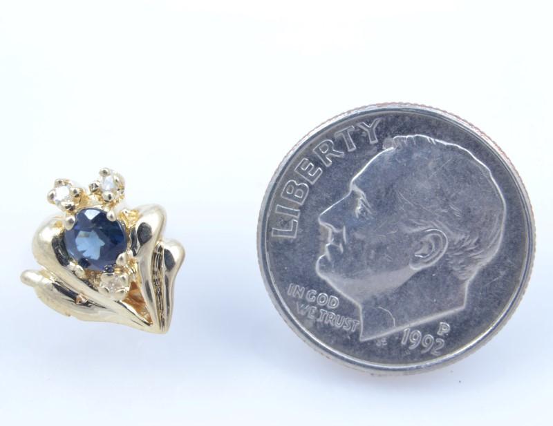 VINTAGE SAPPHIRE DIAMOND EARRINGS SOLID REAL 14K GOLD CLUSTER FLOWER