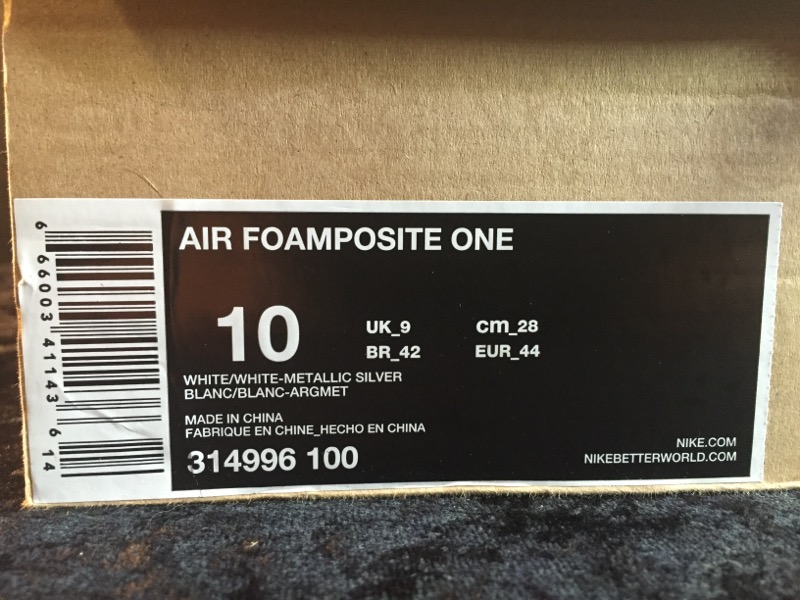 NIKE AIR FOAMPOSITE ONE SIZE 10 MENS