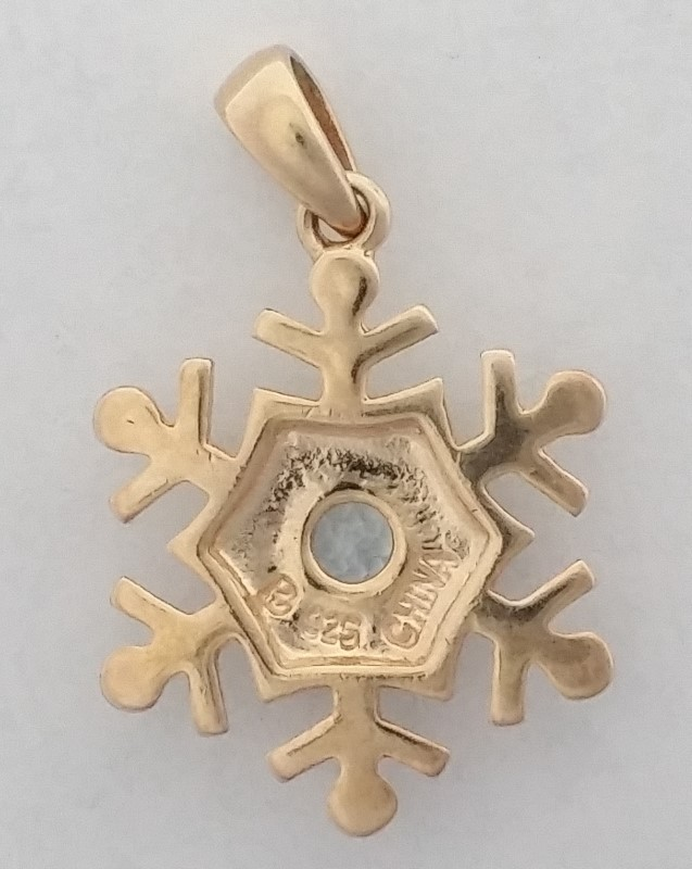 Gold-Toned Sterling Silver Snowflake Pendant with Blue Stone 1""
