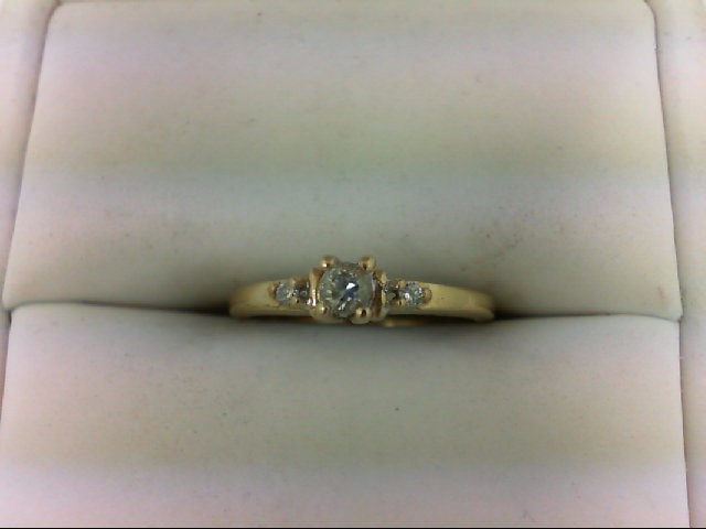 Synthetic White Stone Lady's Stone Ring 10K Yellow Gold 1.2g Size:5