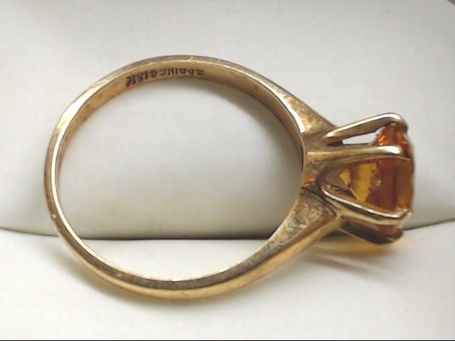 Yellow Stone Lady's Stone Ring 10K Yellow Gold 2.8g Size:7