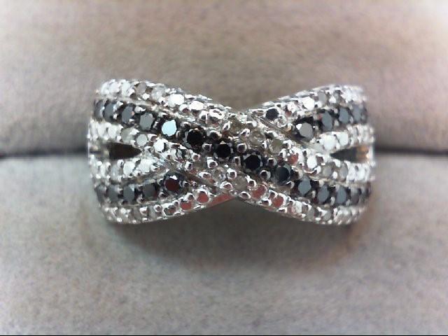 Lady's Silver-Diamond Ring 44 Diamonds .68 Carat T.W. 925 Silver 3.4g