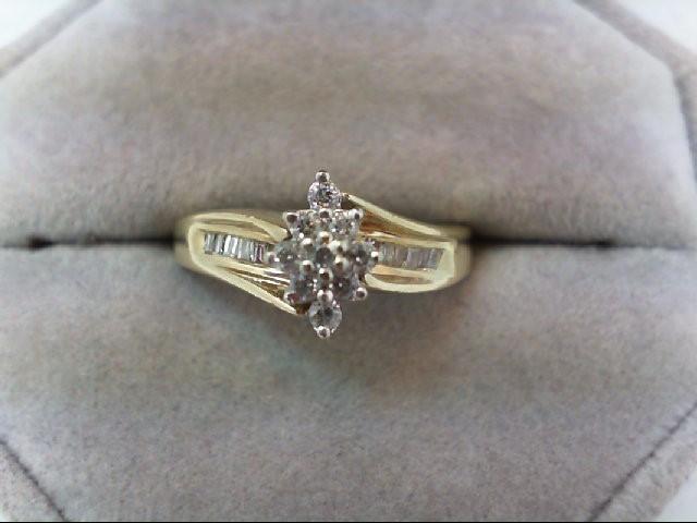 Lady's Diamond Cluster Ring 21 Diamonds 0.3 Carat T.W. 10K Yellow Gold 3.7g