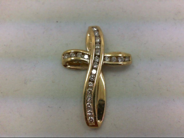 Gold-Multi-Diamond Pendant 23 Diamonds .69 Carat T.W. 14K Yellow Gold 3.4g