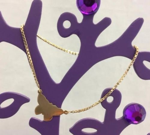 Adorable 14K Yellow Gold Butterfly Insect Charm Fine Box Chain Bracelet 7 inches