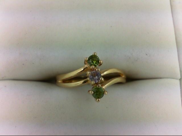 Peridot Lady's Stone Ring 14K Yellow Gold 1.8g