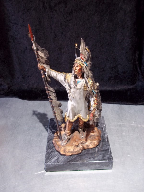 MARBLE AND BRONZE NATIVE AMERICAN STATUE