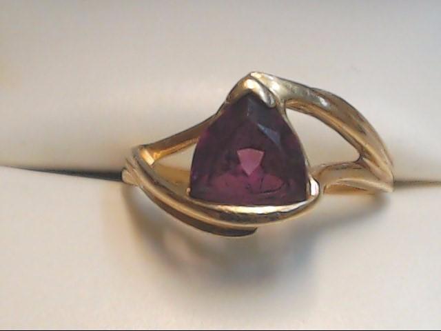 Purple Stone Lady's Stone Ring 14K Yellow Gold 3g Size:5.8