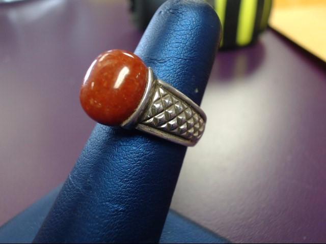Orange Stone Lady's Silver & Stone Ring 925 Silver 7.8g
