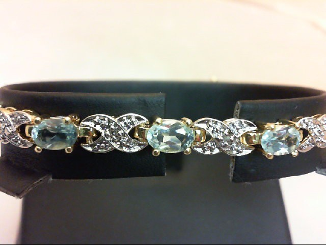 Blue Topaz Silver-Stone Bracelet 925 Silver 12g